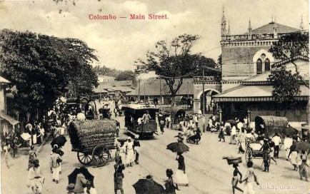 Electric-powered tram operating on Pettah Main Street in the early 1900's