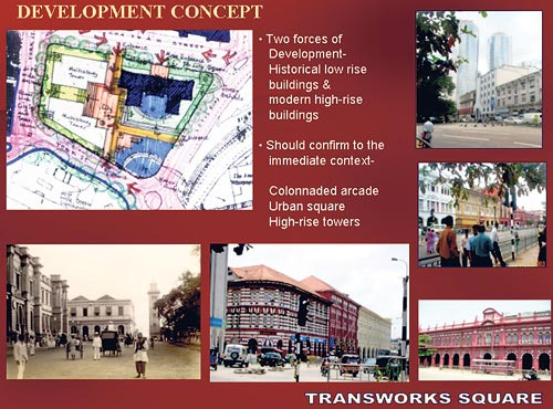 Plans depicting the proposed redevelopment of Transworks Square, Colombo Fort